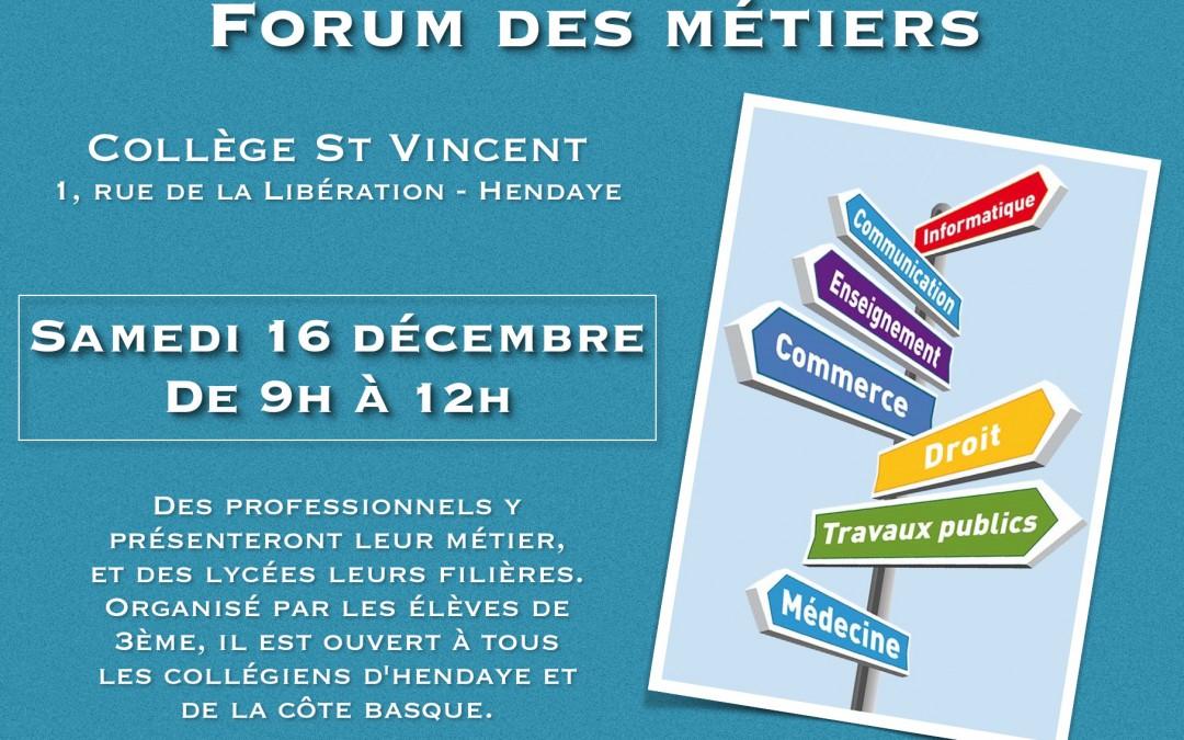 Forum des métiers 2017, vous êtes invités !